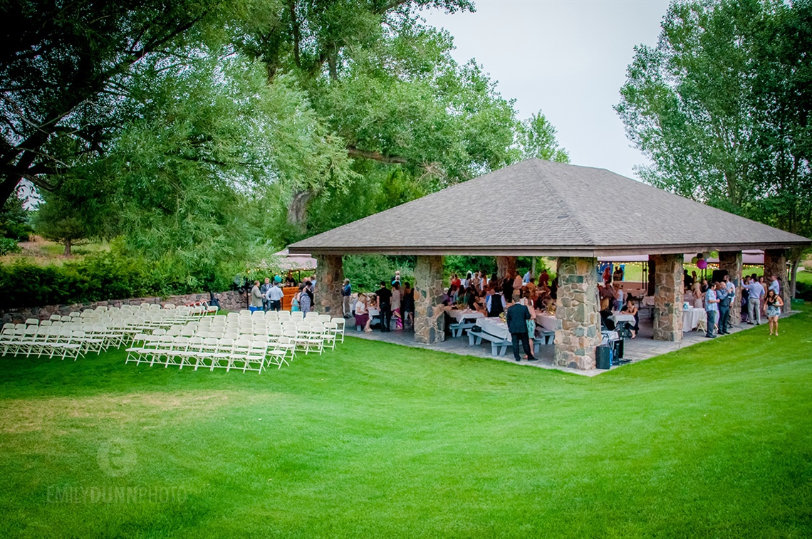 Wedding reception at Fox Hollow Golf Course's pavilion with photo courtesy of Emily Dunn Photo